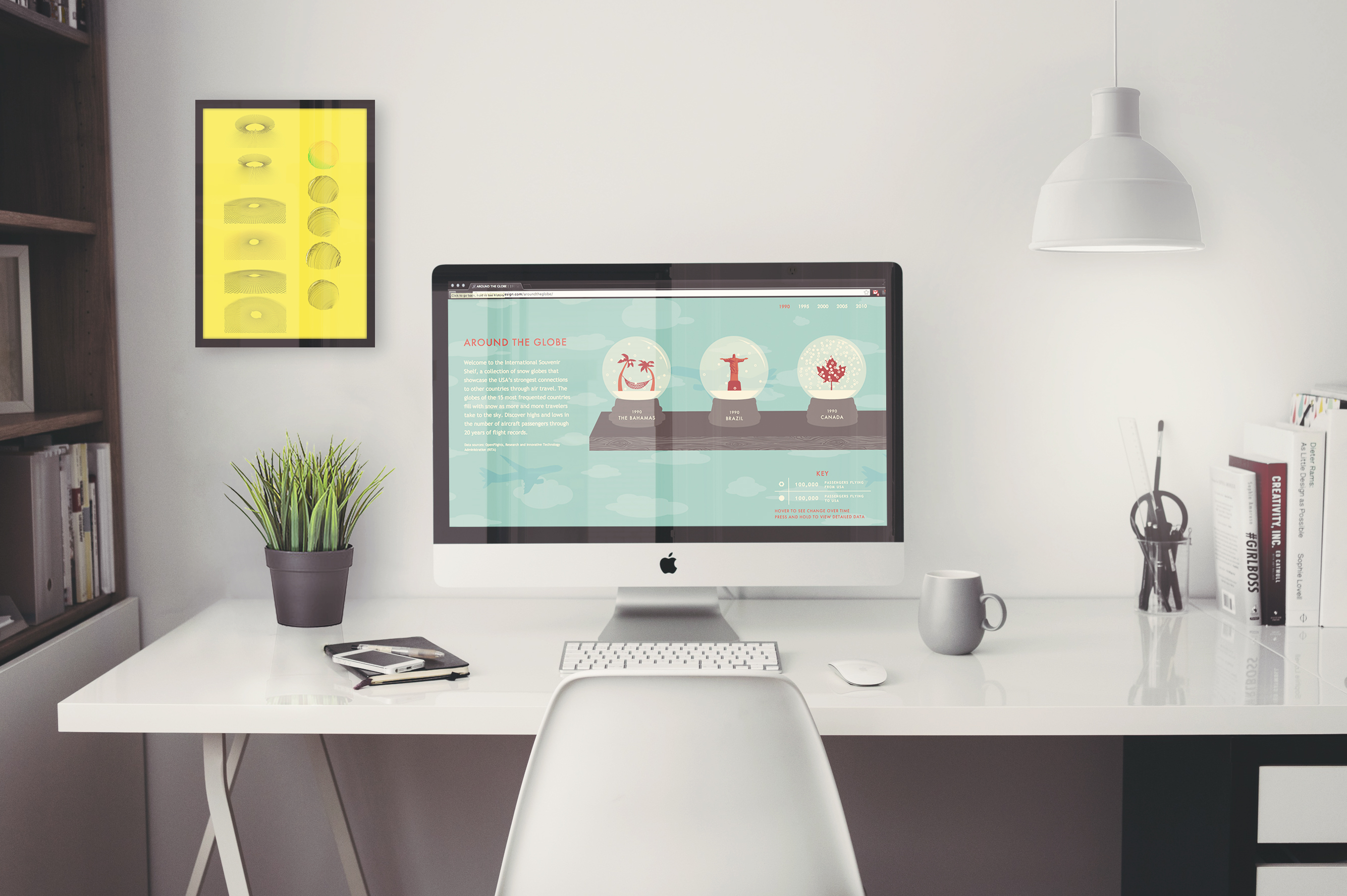 iMac 5k Retina Office Mockup with Items